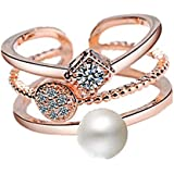 J.Rosée Swarovski Element Pearl Ring for Women Adjustable Size