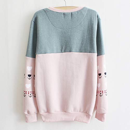 Femmes Casual Manches Col Blouse T Shirts Fashion et Hauts Printemps Sweat Shirts Chemises Sweaters Automne Jumpers Rond Pulls Longues Rose Imprim Pullover wIAC4Bq