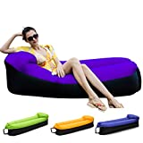 HAKE dual purpose Inflatable sofa with Portable Carry Bag for Outdoor and Indoor use (U-shape pillow+Chair) (Purple Lounger)