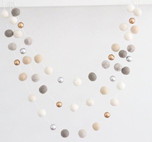 """Neutral Luxe"" Handmade Felt Ball Garland by Sheep Farm Felt- White, Ivory, Cream, Gray, Gold and Silver Wool and Wood Felt Ball Metallic garland. 2.5 cm balls."