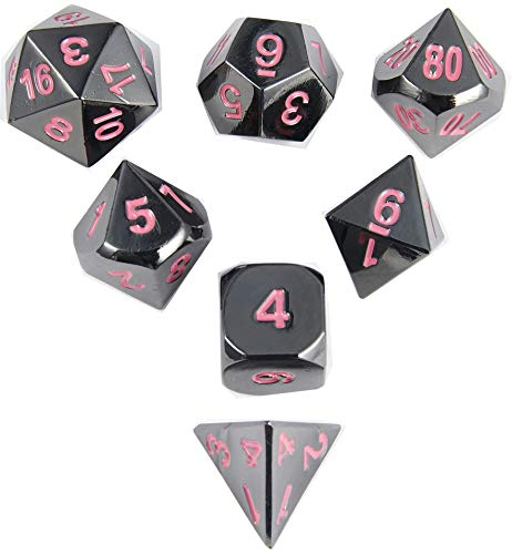 MicoYuan Metal Polyhedral Game Dice Set of Black with Pink Numbers 7pc Set for Dungeons & Dragons, Pathfinder or Any Other RPG