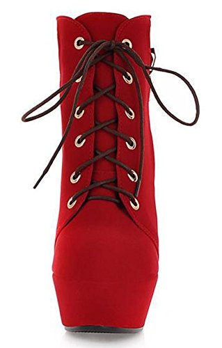 Stiletto Boots High Sexy Up Ankle IDIFU Martin Platform Womens Heels Red Lace Suede Booties Faux wF1xpUqZ