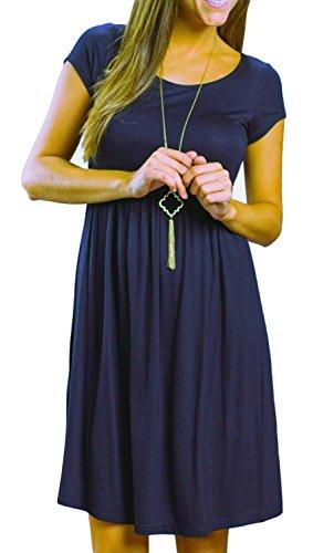 Artfish Women Short Sleeve Empire Waist Tunic Dresses (L, - Shop Empire The