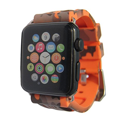 iPartsonline Sport Camo Waterproof Band Compatible for Apple Watch 42/44mm Camouflage Silicone Strap for iWatch 4/3/2/1 Rubber Band (Orange)