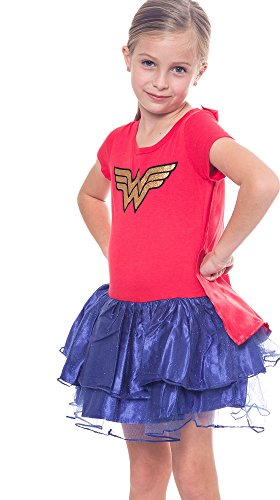 Dc Comics Dress (DC Comics Girl Tutu Costume Dress Wonder Woman Superhero Cape Caped (XL 14))