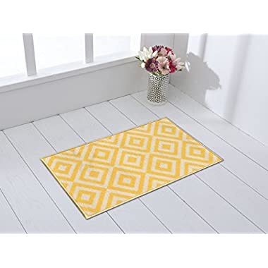 Rubber Backed 18  x31  Trellis Squares Yellow & Ivory Non-Slip Doormat Accent Rug Milldia Milano Collection Area Rugs MIL5009-1X2