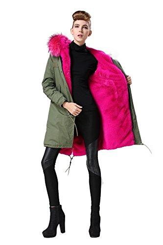 8 piel chaqueta en Parka auténtica de Pinker auténtico cuello pelo 100 abrigo XXL Pelz nbsp;colores caqui IwqB7qU