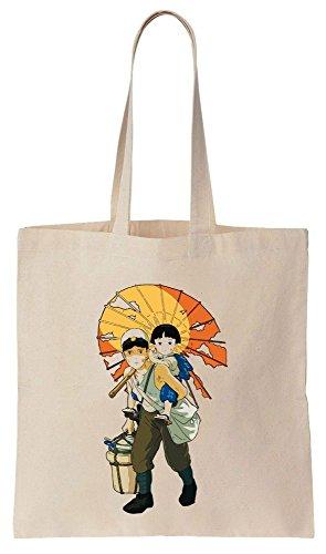 Characters Seita And Setsuko Artwork Sacchetto di cotone tela di canapa