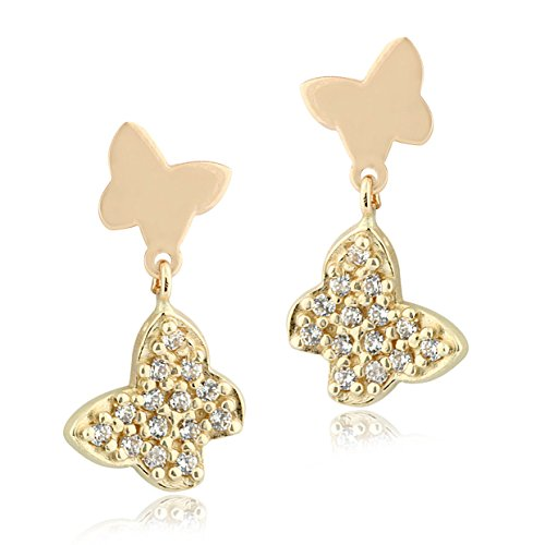 UNICORNJ Childrens 14k Yellow Gold Polished Cubic Zirconia Pave Double Butterfly Dangle Post Earrings Italy by Unicornj