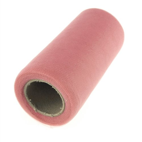 Dusty Rose Tulle - Homeford Firefly Imports Premium American Tulle Roll, Made in USA, 6-Inch, 25 Yards, Dusty Rose,