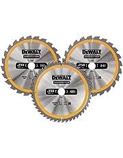 Dewalt Cirkelsågblad set 3-pack, DT1963 (2x 250x30x3,0 mm, 24, WZ, 10° och 1x 250x30x3,0 mm, 48 WZ, 10°, nagelsäker, för användning på stationärsågar)
