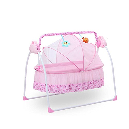 BESTOOL Electric Baby Cradles,Portable Bassinet Cradle Bed Auto Remoter Control Swings Rocking Sleeping Playing Basket Bed with Music for Boys or Girls Newborn Infant Gift Indoor&Outdoor (Pink)