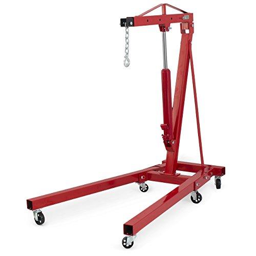 - ARKSEN Foldable Heavy Duty Hydraulic Cherry Picker Engine Lift Hoist Shop Crane Swivel 4000LBS 2-Ton, Red