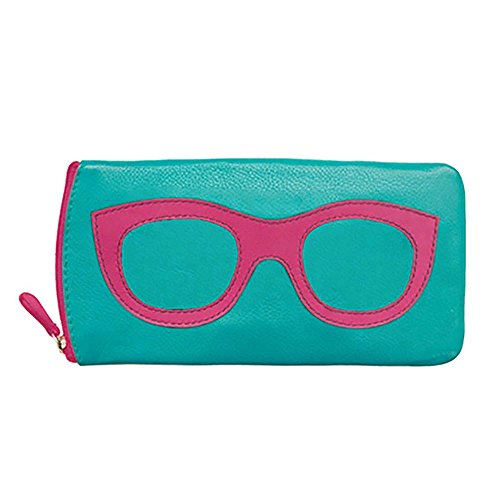 ili New York 6462 Leather Eyeglass Case (Turquoise/Hot Pink) ()