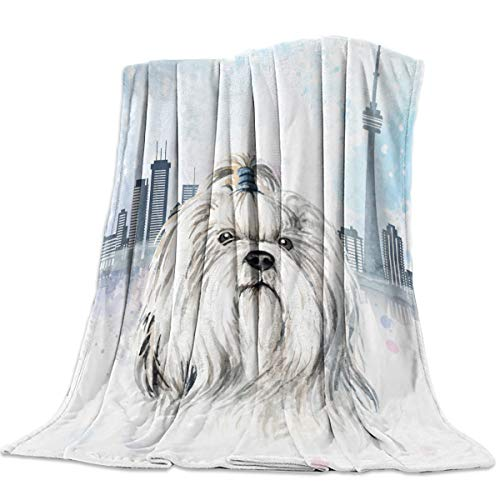 Super Soft Fleece Flanne Throw Blanket 59x79 inch Cozy Microfiber Bed Blanket for Sofa Couch Chair All Season Use,Vancouver City Architecture Watercolor Maltese Dog