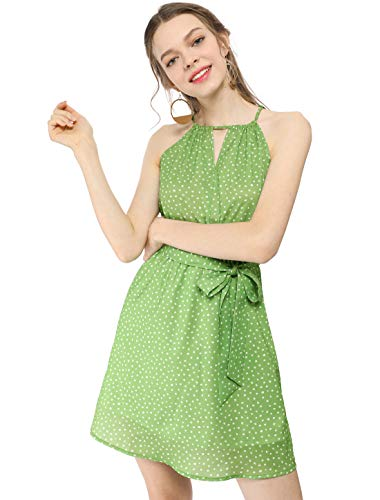 Dotted Halter Dress - Allegra K Women's Summer Mini Dresses Sleeveless Polka Dot Green Halter Dress Green L (US 14)
