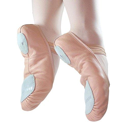 Danzcue Erwachsene Split Sohle Leder Ballett Slipper Rosa