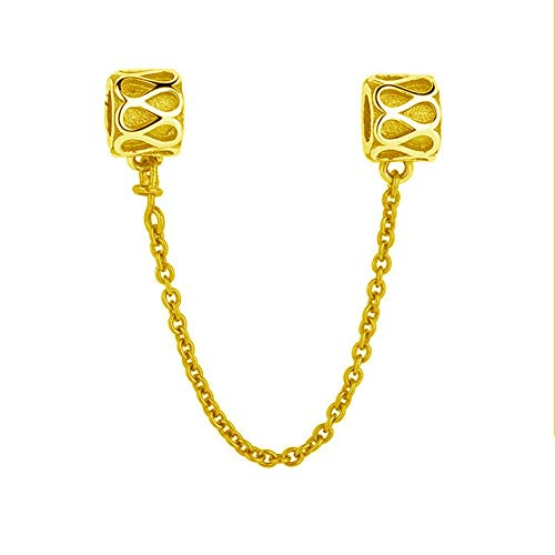 Chain Charm with Gold Plated 925 Sterling Silver Clasp Safety Clip Stopper Charm Spacer Charm for Pandoar Bracelet (D)