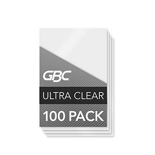 GBC Laminating Sheets, Thermal Laminating Pouches, ID Card Size, 5 Mil, HeatSeal UltraClear, 100 Pack (56005)