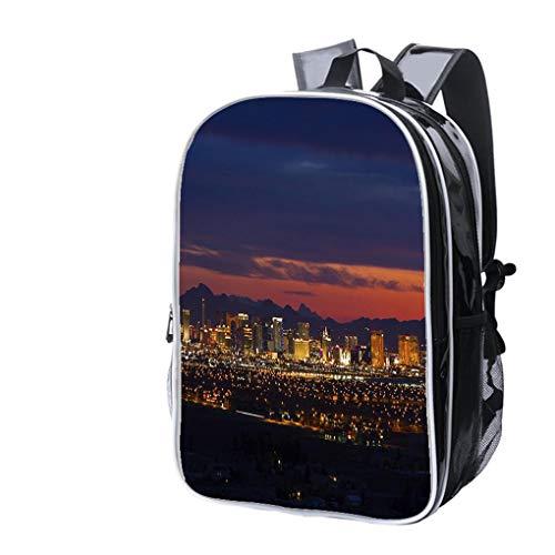 High-end Custom Laptop Backpack-Leisure Travel Backpack Las Vegas Strip at Sunrise Water Resistant-Anti Theft - Durable -Ultralight- Classic-School-Black -
