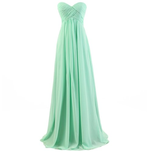 Ouman Sweetheart Bridesmaid Chiffon Prom Dress Long Evening Gown Mint Green S