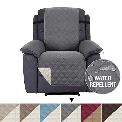 H.VERSAILTEX Recliner Cover Recliner Chair Covers Recliner Slipcover Recliner Protector, Reversible, 2 Elastic Straps, Diamond Stitches Pattern, Cotton Like Quilted (Recliner 79 x 68, Gray/Beige)