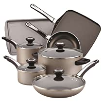 Farberware High Performance 17-Piece Top-quality and Durable Nonstick Cookware Set Convenient and Reliable with Confident Grip and Shatter Resistant Glass, Chocolate