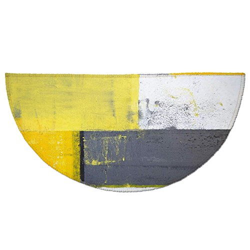 Half Round Door Mat Entrance Rug Floor Mats,Grey and Yellow,Street Art Modern Grunge Abstract Design Squares,White Charcoal Grey and Light Yellow,Garage Entry Carpet Decor for House Patio Grass Water -