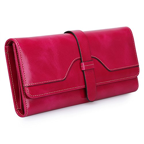 S-ZONE Women's RFID Blocking Real Leather Long Organizer Wallet Card Holder Ladies Clutch (Hot Pink) ()