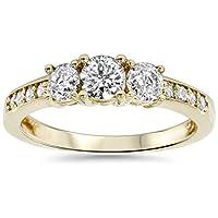 1ct 3 Stone Diamond Engagement Ring 14K Yellow Gold