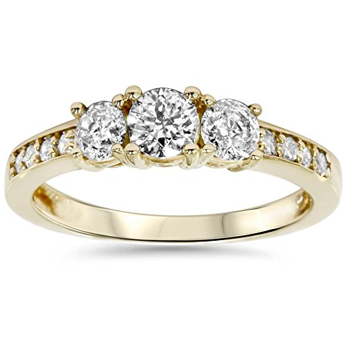 1ct 3 Stone Diamond Engagement Ring 14K Yellow Gold - Size 10 (1 Carat Diamond Ring 14k Yellow Gold)