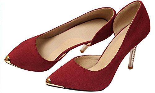 Beautosoul Mujeres Kitten Heels Dress Pumps Zapatos De Punta De Cuero Rojo
