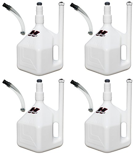 HUNSAKER USA 4 New 5 Gallon White QuikFill Fuel Jugs, Racing Gas Cans (w/4 Hose Kits)