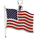 14K White Gold Enameled American Flag Pendant