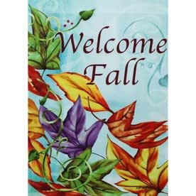 """ Welcome Fall "" Large Flag 28 inch x 40 inch Colorful Leaves Blowing in Wind"