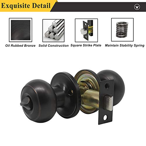 Probrico Privacy Door Knob Handles Bed and Bath Keyless Leversets Oil Rubbed Bronze Lockset 6 Pack by Probrico (Image #4)