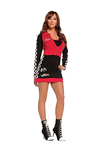 Sexy Womens High Speed Hottie Race Car Driver Roleplay Costume  Large  Black Red