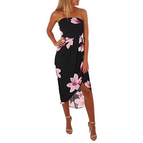 Bandeau Hem (Kimloog Women's Off Shoulder Bandeau Strapless Beach Sundress Floral Print Split Front Long Maxi Dress (L, Black))