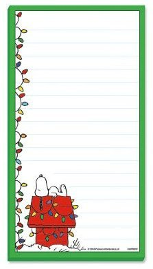 Peanuts Worldwide Christmas Lights Snoopy Lined Magnetic Notepad (Green Border) ()
