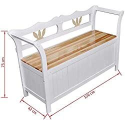 "Clever Market Outdoor Patio Wood Storage Bench Entryway Hallway Vintage Style Bench Space Deck Box White 49.6"" x 16.5"" x 29.5"""