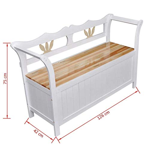 """Clever Market Outdoor Patio Wood Storage Bench Entryway Hallway Vintage Style Bench Space Deck Box White 49.6"""" x 16.5"""" x 29.5"""""""