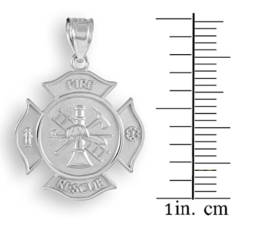 10 ct 471/1000 Or Blanc Fire Rescue Pompier Massiv Badge Pendentif