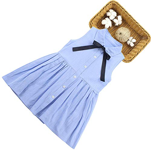 Girls Dress Sleeveless Dresses for Girls Cotton Summer Dress 2019 Kids School Costume,Blue,10 -