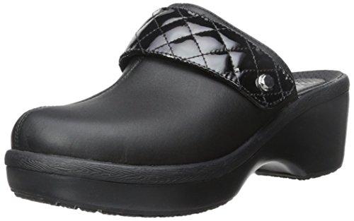 crocs Women's Cobbler Quilt Strap Clog Mule, Black/Black, 9 B(M) US