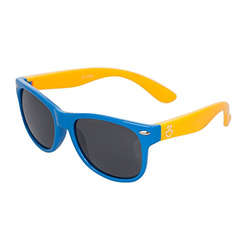 Kids Flexible Rubber Sunglasses-UV Protection and Polarized Lenses for Boys and Girls (Blue & Mustard, Black)