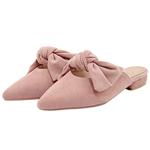 Shoes Bowknot Loafers Pink Flats Pointed for Mules Slippers Eithy Women On Fashion Toe Suede Slip zFqW1X