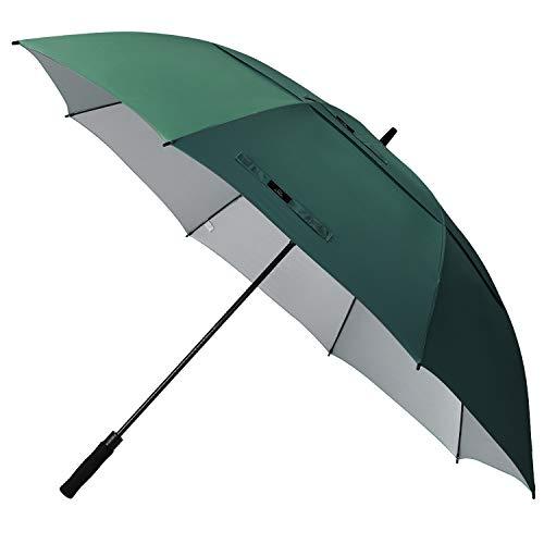 Prospo 68 inch Large Oversized Gold Umbrella UV Protection Auto Open Windproof Waterproof Double Canopy Vented Stick Umbrellas for Men Women(Dark Green)