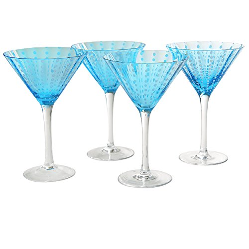 Artland Cambria Martini 8 oz (Set of 4), Turquoise Artland Martini Glass