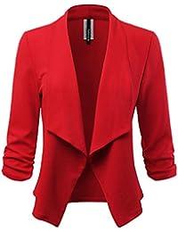 Women's Stretch 3/4 Gathered Sleeve Open Blazer Jacket...