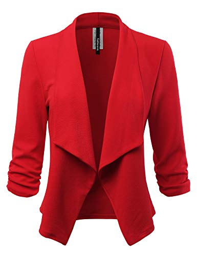 FASHIONOLIC Women's Stretch 3/4 Gathered Sleeve Open Blazer Jacket (Made in USA) (CLBC001) RED M